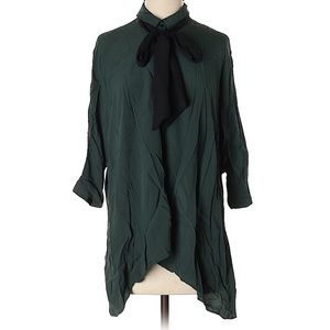 Green Zara tunic blouse with black bow